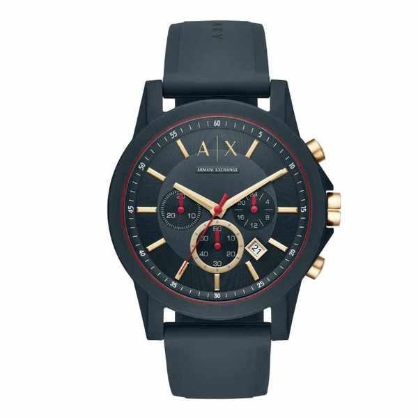 Ax1335 granatowy zegarek armani ze z%c5%82otymi wskaz%c3%b3wkami na silikonowym pasku