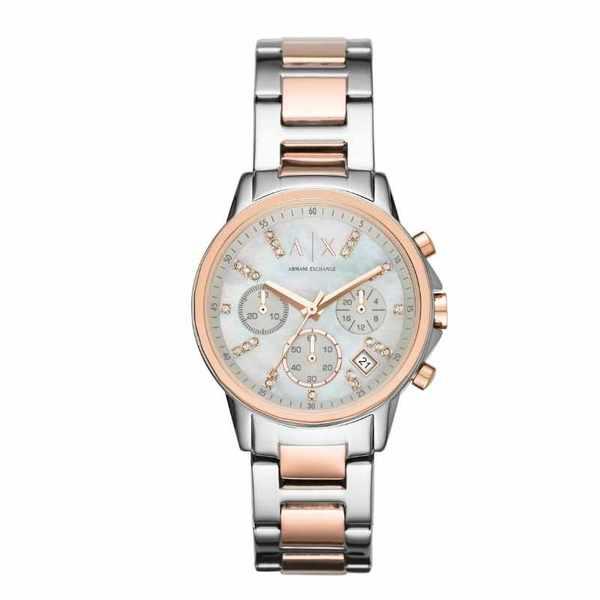 Ax4331 zegarek damski armani exchange lady banks srebrny rose gold z per%c5%82ow%c4%85 tarcz%c4%85