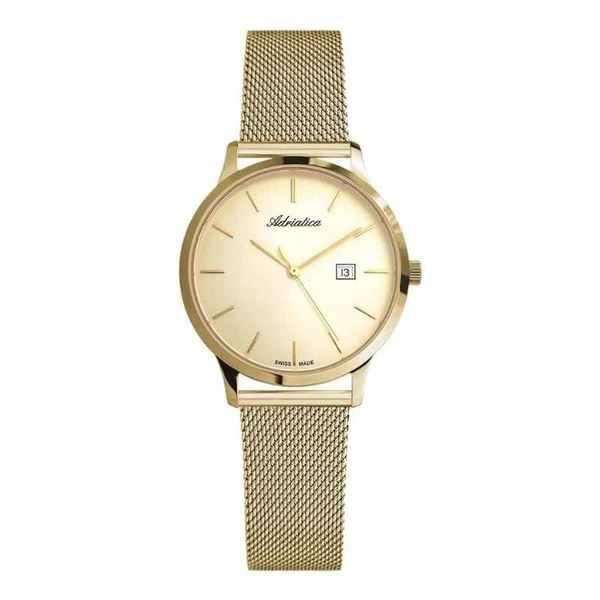 Damski zegarek a3174.1111q adriatica swiss made z%c5%81oty na branzolecie okr%c4%84g%c5%81a tarcza z%c5%81ota szykowny elegancki