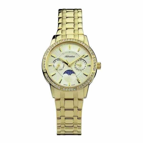 Damski zegarek moonphase for her a3601.1111qfz adriatica swiss made z%c5%81oty na branzolecie okr%c4%84g%c5%81a tarcza z%c5%81ota szykowny elegancki fazy ksi%c4%98%c5%bbyca