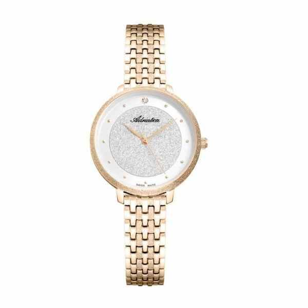 Damski zegarek adriatica precious a3751.1143q swiss made z%c5%81oty brokat na branzolecie okr%c4%84g%c5%81a tarcza z%c5%81ota %c5%9aliczny elegancki