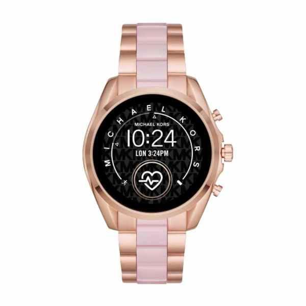 %c5%9aliczny zegarek smartwatch dla kobiet mkt5090 michael kors gen 5 bradshaw tarcza okr%c4%84g%c5%81a rose gold r%c3%93%c5%bbowy pink pasek branzoleta dwukolorowa  modny elegancki w modzie stylowy casual oryginalny markowy autoryzowany s